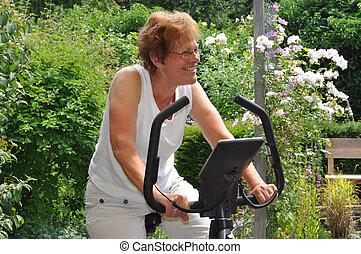 kobieta, excercising, senior