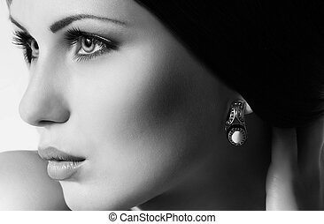 kobieta, fason, biżuteria