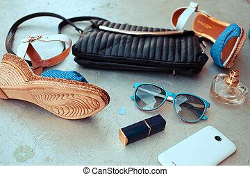kobieta, fason, essentials, obiekty