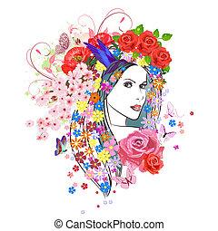 kobieta, fason, kwiaty, hair., młody, portret, piękny