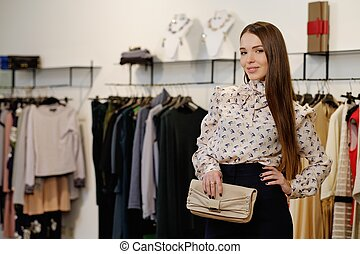 kobieta, fason, młody, showroom, modny