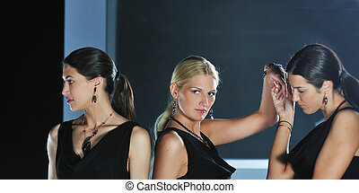 kobieta, fason pokazują