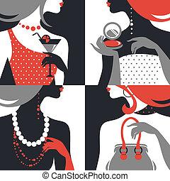 kobieta, fason, silhouettes., wystawiany zamiar, płaski, piękny