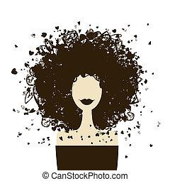 kobieta, fason, twój, portret, projektować