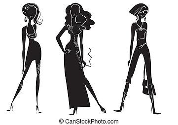 kobieta, fason, white., wektor, projektować, wzory, odzież