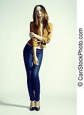 kobieta, fotografia, dżinsy, młody, fason, czuciowy