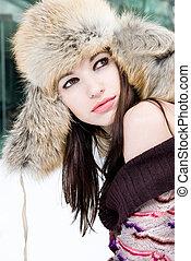 kobieta, futro, zima, młody, portret, kapelusz