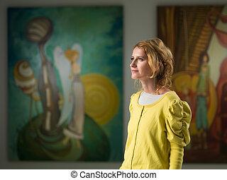 kobieta, ganek, odwiedzając, sztuka