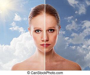 kobieta, gojenie, przed, piękno, skóra, młody, postępowanie, skutek, po