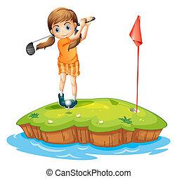 kobieta, golf, młody, interpretacja