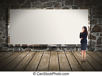 kobieta handlowa, billboard.