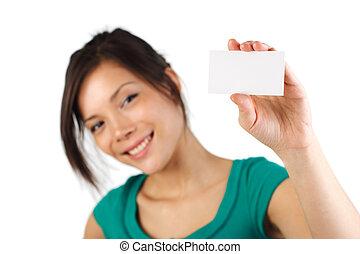 kobieta handlowa, karta, czysty