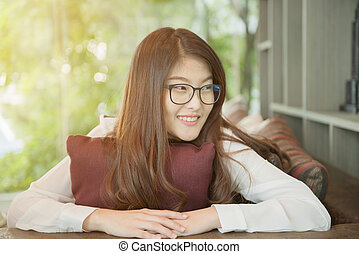 kobieta handlowa, laptop, asian, portret, sexy