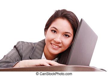 kobieta handlowa, młody, odizolowany, -, laptop, biały