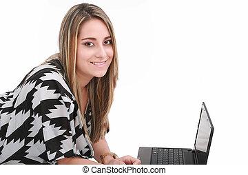 kobieta handlowa, na, tło, odizolowany, laptop, biały