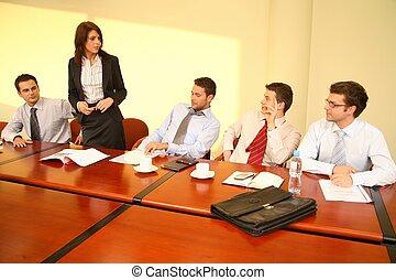 kobieta handlowa, nieformalny, -, szef, mowa, spotkanie
