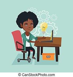 kobieta handlowa, pracujący, laptop, idea., nowy