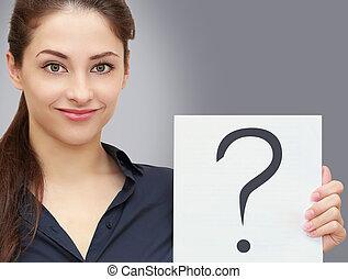 kobieta handlowa, pytanie, prośba, szary, znak, dzierżawa, czysty