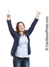kobieta handlowa, szczęśliwy