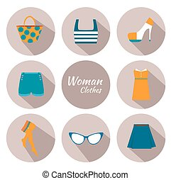 kobieta, ikona, komplet, odzież
