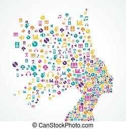 kobieta, ikony, app, bryzg, muzyka, hea