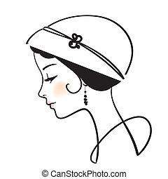 kobieta, ilustracja, kapelusz, twarz, wektor, piękny