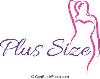 kobieta, ilustracja, symbol, curvy, wektor, plus, logo, woman., logo., rozmiar