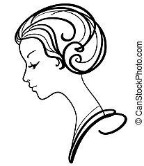 kobieta, ilustracja, twarz, wektor, piękny