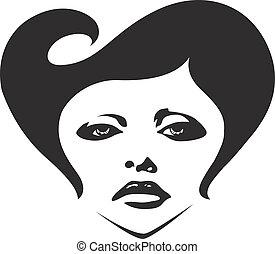 kobieta, ilustracja, twarz