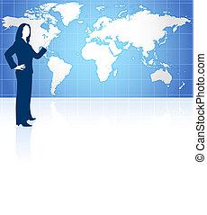 kobieta interesu, światowa mapa