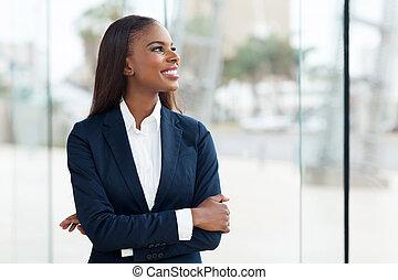 kobieta interesu, afrykanin, młody