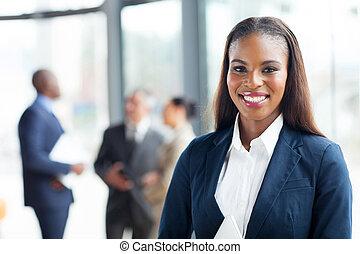 kobieta interesu, amerykanka, szczęśliwy, afrykanin