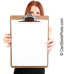 kobieta interesu, clipboard, dzierżawa, czysty