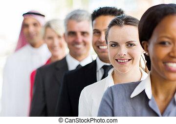 kobieta interesu, grupa, handlowy zaludniają