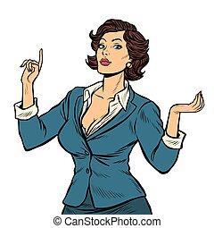 kobieta interesu, izolować, tło, biały, prezentacja, gest