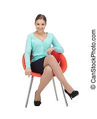 kobieta interesu, krzesło, młody, posiedzenie