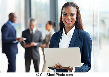 kobieta interesu, laptop, młody, amerykanka, komputer, afrykanin, używając