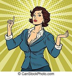 kobieta interesu, prezentacja, gest