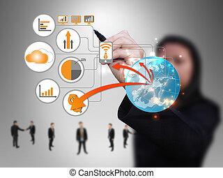 kobieta interesu, projektować, technologia, sieć