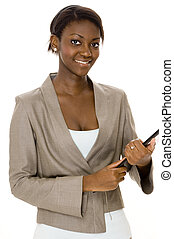 kobieta interesu, uśmiechanie się