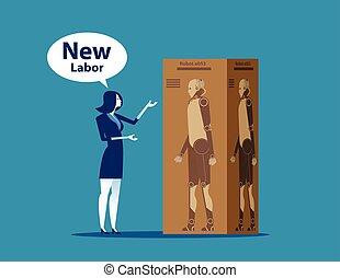 kobieta interesu, wektor, illustration., presentation., labor., nowy, pojęcie, handlowy