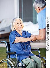 kobieta, istota, wheelchair, wsparty, senior, pielęgnować