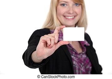 kobieta, jej, handlowy, do góry, dzierżawa, karta