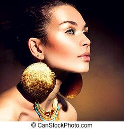 kobieta, jewels., fason, portrait., makijaż, złoty, modny