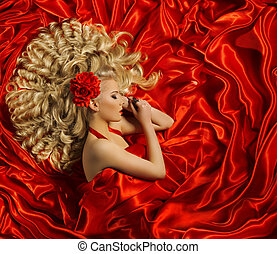 kobieta, kędzierzawy, fryzura, kolor, kudły, fason, włosy, dziewczyna, ufryzować, wzór, czerwony, styl