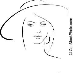 kobieta, kapelusz
