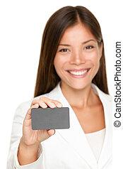 kobieta, karta, uśmiechanie się, czysty, handlowy