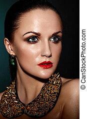 kobieta kaukaska, włosy, makijaż, brunetka, fason, przepych, czysty, mokry, dodatkowy, młody, zdrowy, closeup, piękny, usteczka, portret, look., skóra, doskonały, jewelery, wysoki, sexy, wzór, czerwony, jasny