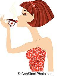 kobieta, kawa, wektor, napój