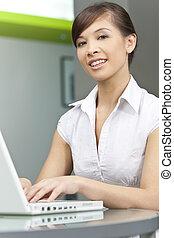 kobieta, komputer, używając, chińczyk, asian, laptop, piękny